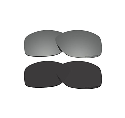 2 Pairs BVANQ Polarized Lenses Replacement Black & Black Mirror for Oakley Cohort OO9301 - Replacement Cohort