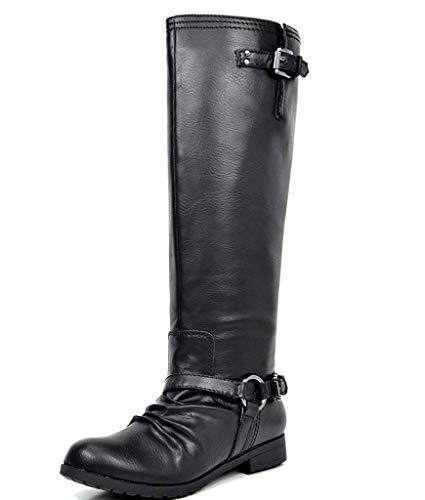 TOETOS Women's ARIAZ Black Knee High Riding Boots - 8.5 M US