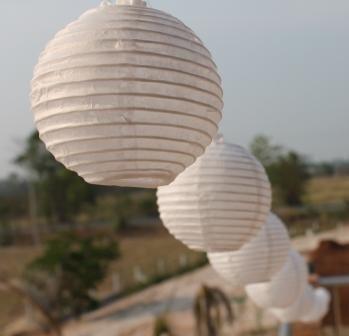 White Mini Paper Lantern Battery LED Fairy Light String 20 Mini
