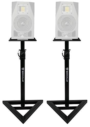 2 Rockville Adjustable Studio Monitor Speaker Stands For ADAM Audio A5X Monitors