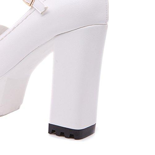9597cd04e01d ... YE Damen Blockabsatz High Heels Plateau Pumps mit Knöchelriemchen und Schnallen  Moderne Schuhe Weiß ...