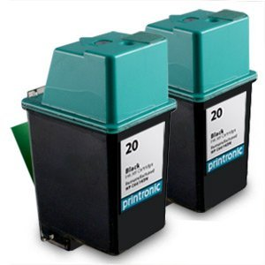 tured Ink Cartridge Replacement for HP 20 C6614DN (2 Black) ()