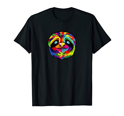 Sloth Face T-Shirt Colorful Cool Pop Art Style Animal Lover