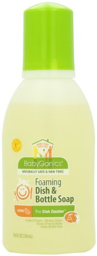 BabyGanics Dish Dazzler Foaming Dish & Bottle Soap, Citrus, 18.6-Fluid Ounce Bottles (Pack of 2)