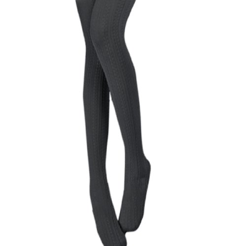 Woman Rib Textured Tights Leggings Footed Pantyhose