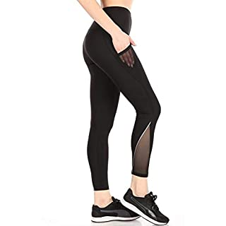 ShoSho Womens High Waist Yoga Pants Tummy Control Butt Sculpting Leggings Athleisure Workout Compression Tights W/Side Pockets & Reflective Mesh Panels Black Medium