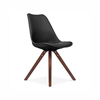 Design Lab MN Viborg Side Chair with Walnut Base, Set of 2, Black Seat - Beautiful Matte Seat Finish Round Spindle Legs PU Seat Pad - kitchen-dining-room-furniture, kitchen-dining-room, kitchen-dining-room-chairs - 31oHQbMyusL. SS400  -