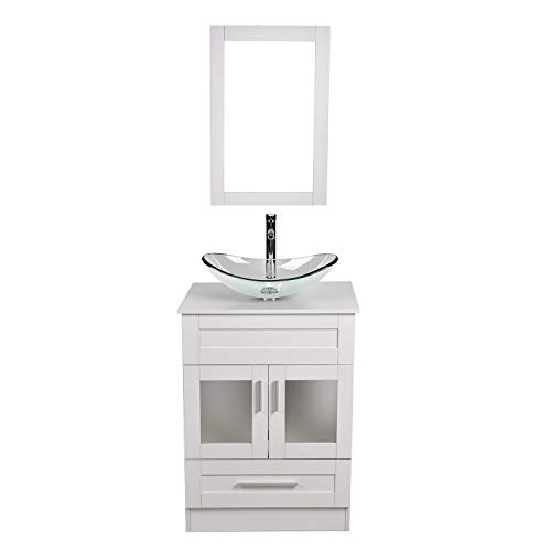24 Inch White Wood Bathroom Vanity and Sink Combo with Mirror and Water Saving 1.5 GPM Chrome Faucet Counter Top Floor Cabinet