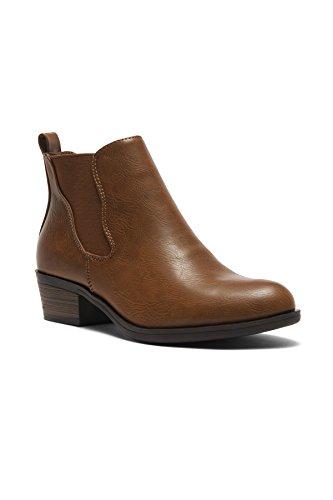 HerStyle Womens Necter Womens Elastic Side Panel Block Heel Chelsea Ankle Boots Cognac ZpiNkRBz7