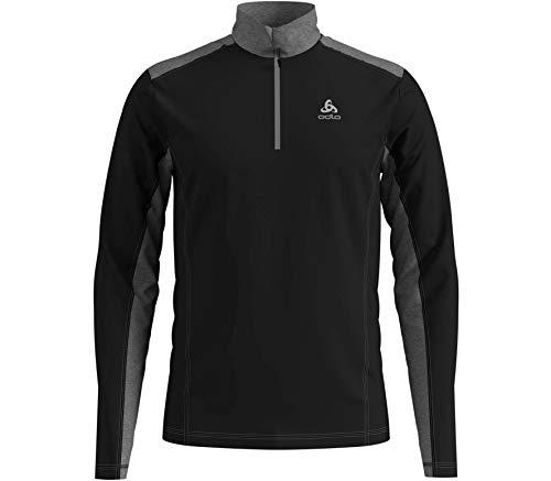 Odlo Herren Midlayer 1/2 Zip STEEZE Pullover, Black-Grey Melange, XL