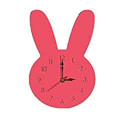 Sendke New 3D Nordic Style Wall Clock Modern Design Living Room Decorative Rabbit Wall Watches Silent Wooden Clock