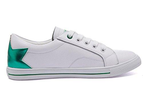 Scarpe Women 's YCMDM cuoio genuino Spell scarpe Tie Lace Tempo libero Piccolo piatto bianco Scarpe comode scarpe rotonde singoli pattini , white green , 35