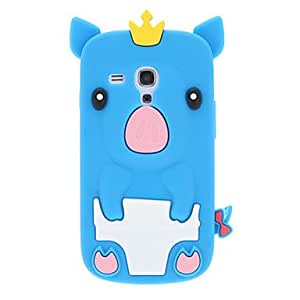 Crown Pig Pattern Silicone Soft Case for Samsung Galaxy S3 mini I8190 --- COLOR:White