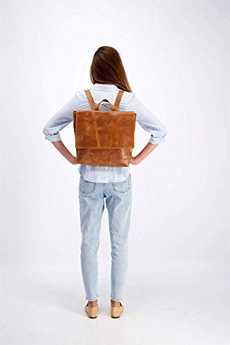 Leather Backpack, Brown Laptop Handbag with Zipper, Minimalist Shoulder Diaper Bag, Gift for Student, Handmade by Mayko