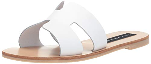 STEVEN by Steve Madden Women's Greece Flat Sandal, White Leather, 8 M US