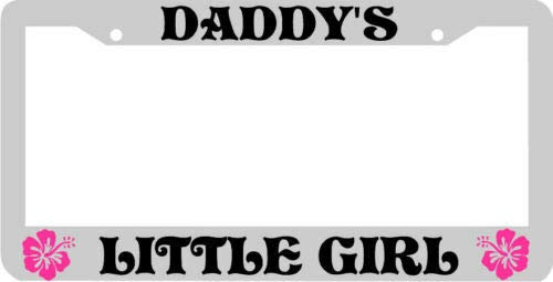 Billion_Store Pink Hibiscus Daddys Little Girl License Plate Frame Unique Accessories for Tuning Cool Tuning