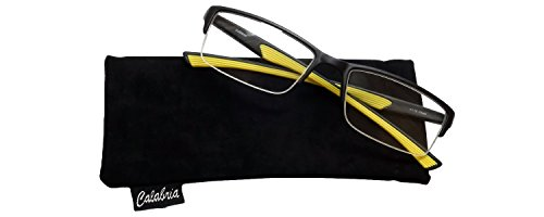 Calabria 6904 Semi-Rimless Flexie Reading Glasses in Yellow +2.00 ()