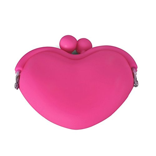 SunSunRise Magenta Cute Candy Silicone Key Coin Tray Change Wallet Purse Bag Pouch Case