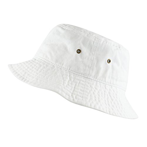White Cotton Bucket Hat - THE HAT DEPOT Youth Kids Washed Cotton Packable Bucket Travel Hat Cap (7-10yrs, White)