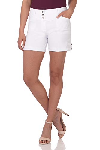 - Rekucci Women's Ease Into Comfort Stretchable Pull-On 5 inch Slimming Tab Short (12,White Squares)