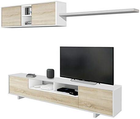 Habitdesign 1F6682BO - Mueble de salón Moderno, modulos Comedor Belus, Medidas: 200 cm x 41 cm de Profundidad (Blanco Bril...