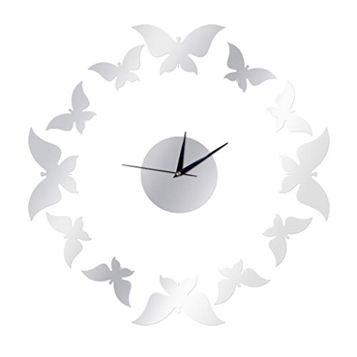 Acrylic Wall Clock,3D Butterfly DIY Mirror Removable Time Wall Clock,Silent Non-Ticking Wall Clock for Home Living Room Bedroom Office Decoration(Or, Argent)