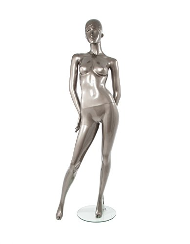 - Newtech Display MAF-P2-428/SMPE Polypropylene Trendy Face Mannequin, Shiny Pewter