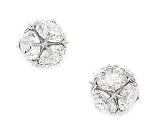 14k White Gold Cubic Zirconia Large Disco Ball Screw-Back Earrings - Measures 9x9mm