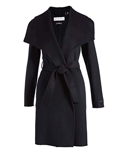 (Women's Tahari Ellie Double Face Wool Blend Wrap Coat, Black (L))