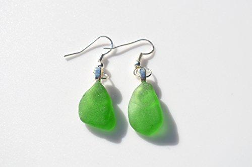 Green Dangling Sea Glass Earrings