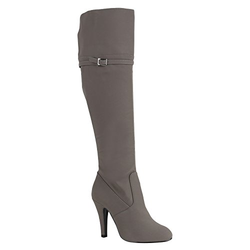 Stiefelparadies Damen Overkness Denim Stiefel Peeptoes Stiletto Blockabsatz Schuhe Langschaftstiefel Used Look High Heels Jeans Denim Flandell Grau Schnallen