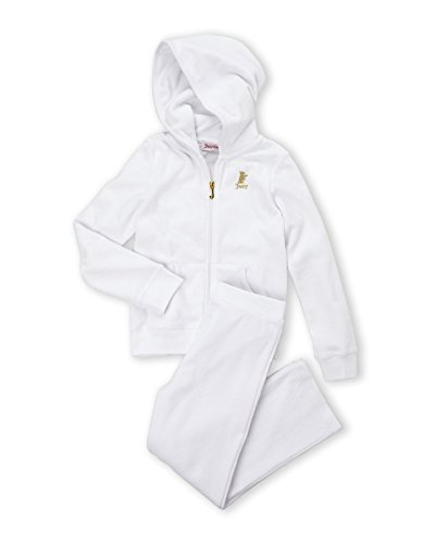 Juicy Couture Girls 2 Pc Classic Terry Hoodie & Pant Jog Tracksuit Set (4T) ()