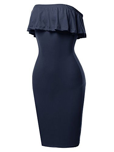Sexy Off Shoulder Ruffle Tube Top Flounce Dress Navy S (Blue Sexy Dress Tight)