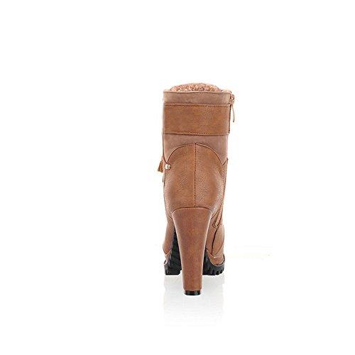 UH 41 bout plateforme talon cheville Dress Zip Bottes Velvet Femmes kaki à haut épais rond lacets HTUHnr6xw