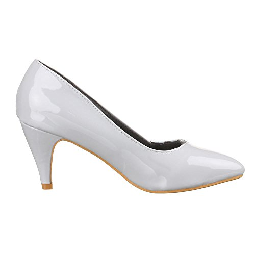 Women's Shoes Patent PUMPS, 50256 Modern Grey