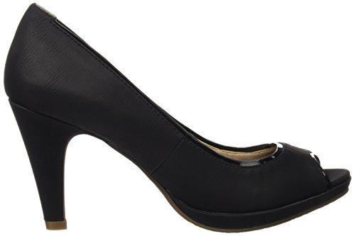 XTI 030588, Zapatos de Tacón con Punta Abierta para Mujer Negro (Black)