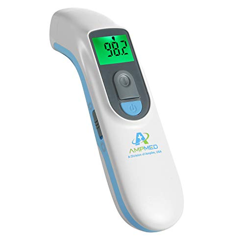 Amplim Hospital Medical Grade Noncontact Clinical Digital Infrared Forehead Thermometer for Baby and Adult, FSA HSA Approved, 1701AE1, Blue White