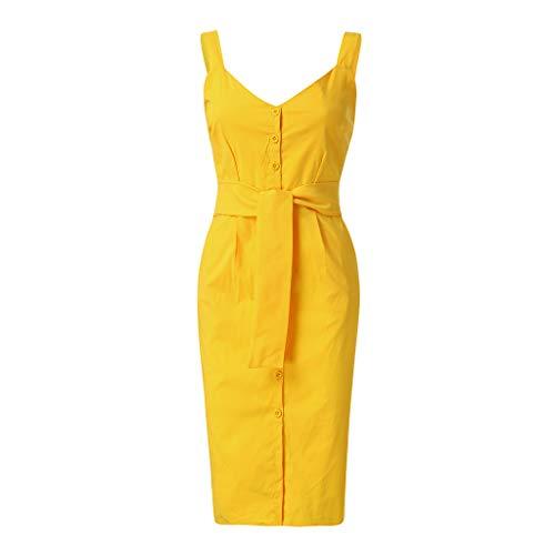 (Womens Tie Waist Sleeveless Midi Dress | Hopwin Lady Elegant Button Down Sundress V Neck Dresses with Belt (L,)