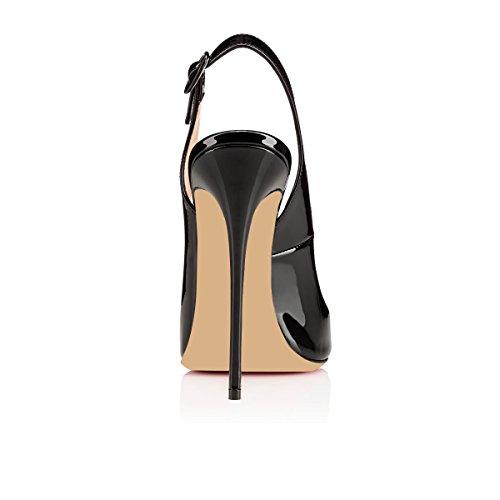Scarpe High ELASHE col for a T Classiche Heels Cinturino Col con Wedding Tacco Nero Scarpe 12CM Tacco Donna fwfOqz1