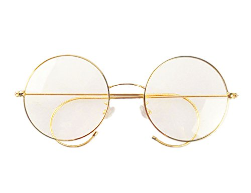 Agstum Retro Round Optical Rare Wire Rim Eyeglass Frame 49mm (Large size) (Gold, - Eyeglasses Cable With Temples