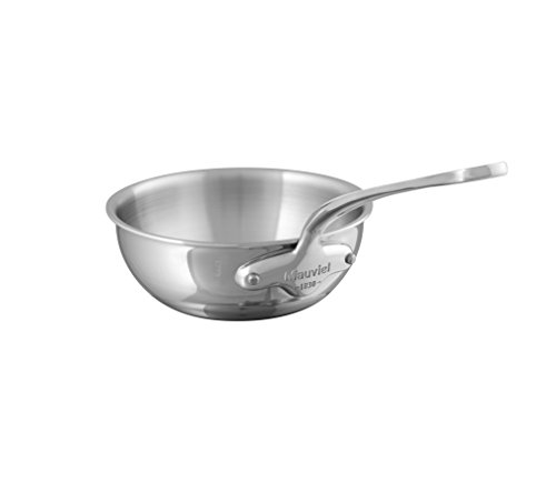Mauviel 5212.16 M Cook 16CM CAST SS HDL 2.6MM Curved splayed Saute pan, 16″, Stainless Steel Review