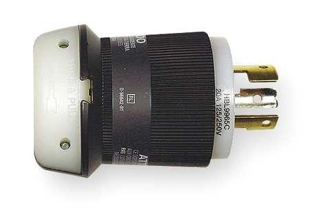 - 20A Locking Plug 3P 3W 125/250VAC BK/WT
