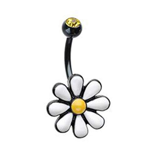 Davana Enterprises 14GA One Daisy at a Time Belly Button Ring (Black or Rhodium Plated Steel) (Black Plated)