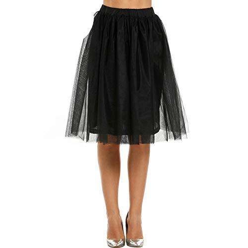 Skirts Women Pleated A Line High Waist Knee Length Lolita Petticoat Faldas Mujer Dance,Black,M