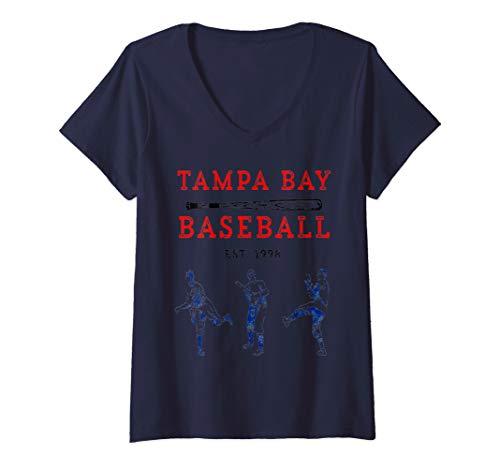 Womens Classic Tampa Bay Baseball Shirt Fan Retro Vintage T-Shirt  V-Neck T-Shirt