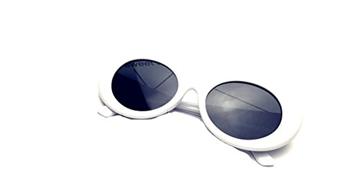 BOLD Retro Oval MOD Thick Frame Clout Goggles Round Lens Sunglasses (White, - Trendy Sunglasses