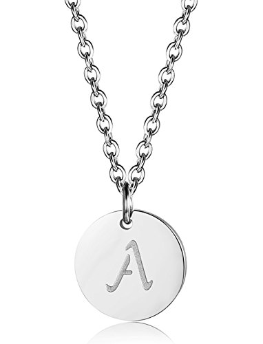 FUNRUN JEWELRY Stainless Steel Initial Letters Pendant Necklace for Women Men (A: Letter-A)