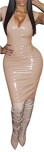 Femmes Slim Manches Cromoncent Col Sexy Profond Crayon Abricot Robe V Moulante Fit dBwxqY1