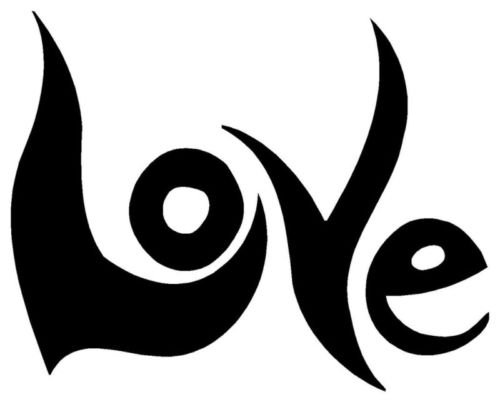 LOVE Sticker Retro 60s 70s Peace Hippie Car Vinyl Decal - Die cut vinyl decal for windows, cars, trucks, tool boxes, laptops, MacBook - virtually any hard, smooth surface -