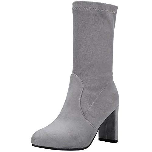 Invernali Invernali Invernali Boots on Stivaletti Pull Eleganti Eleganti Eleganti Eleganti Grigio Alto Party Corti Blocco Stivali Tacco Donne Tacco A COOLCEPT Scarpe Autunno nwY0XvZqX